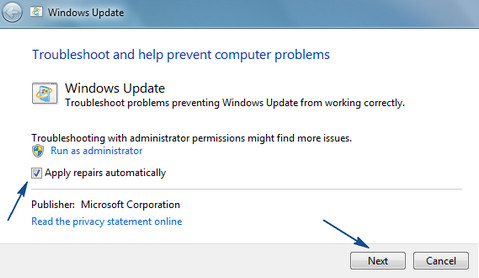 Fixing with troubleshooter