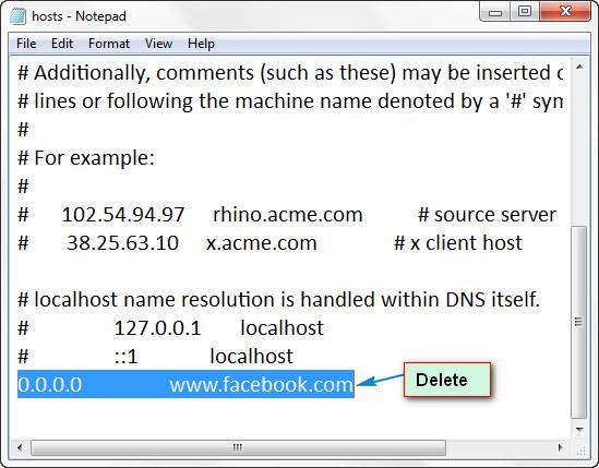 Deleting Website URLs From Hosts File