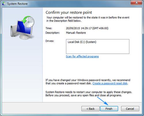 Finishing System Restore