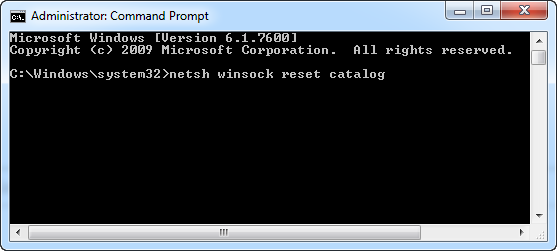 Command Prompt to Reset Catalog