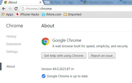 Chrome About Page