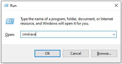 Command prompt using run