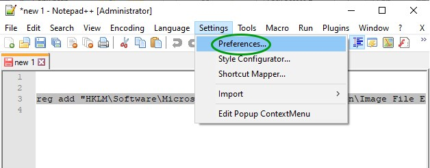 Notepad++ setting preference