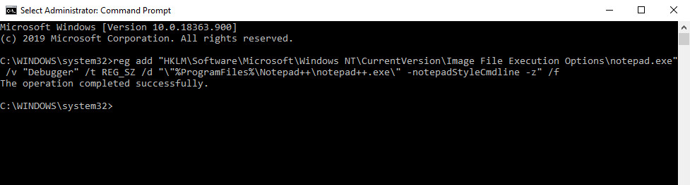 Replace notepad with notepad++ using command prompt